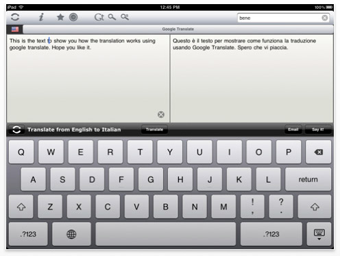 Vocabolario italiano inglese traduttore per ipad for Traduttore apple